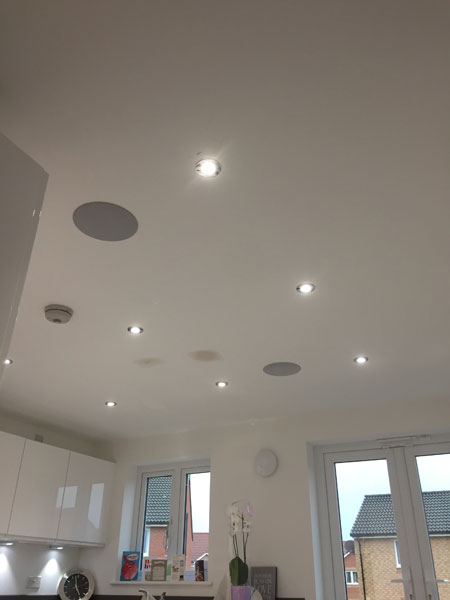 Bishopobriggs kitchen in ceiling speakers and downlights