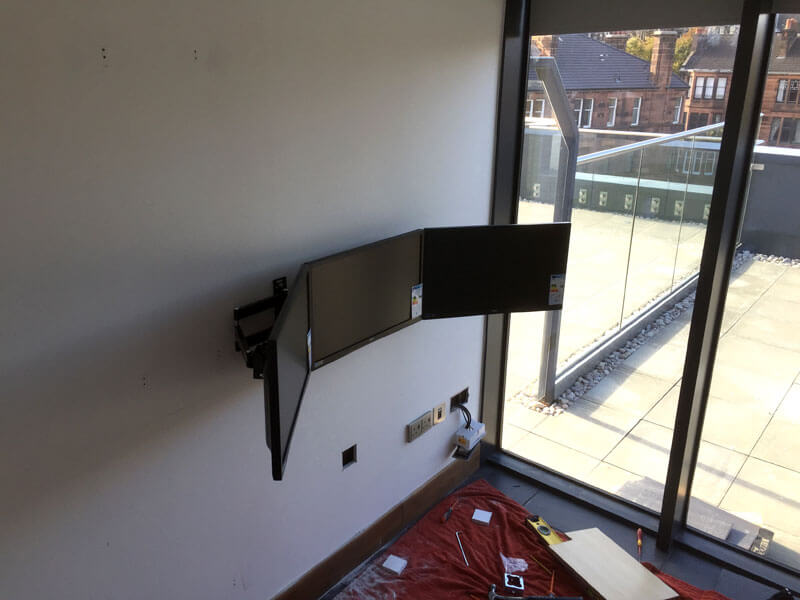 tv wallmount hyndland penthouse office install
