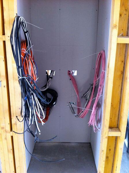 custom pre-wiring AV cabinet location
