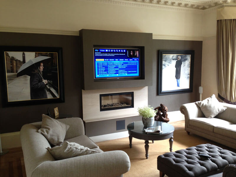 surround sound install Polloksheilds TV wallmount with 5 speaker system